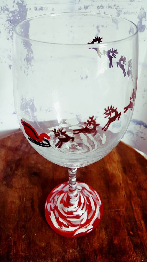 Christmas wineglass, santa wineglass