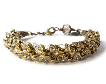 Kumihimo Bracelet, Magatama Jewelry, Bronze Bracelet, 8th Wedding Anniversary, Vintaj Jewelry, Dragon's Scale Bracelet, Beaded Jewelry