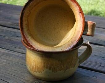 2 Pottery Soup Mugs Golden Glaze NC Pottery