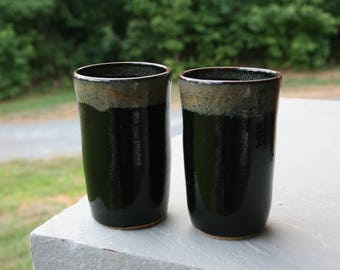 2 Black Pottery Tumblers Brown Rim NC Pottery Cups