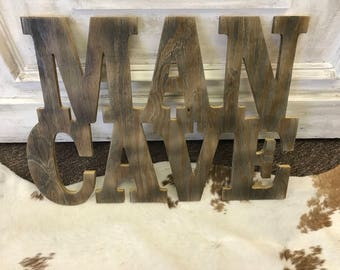 Unfinished Wood Man Cave Sign  - DIY Summer - Decor - Home Decor - Beach House Decor - Wood Decor - Door Hanger - Lake House
