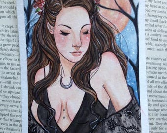 Original Watercolor Painting 4x6 Lace Moon Child Witch Fantasy Art