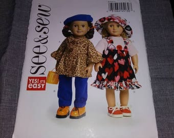 See and Sew American Girl doll clothes  Pattern, UNCUT, it is so easy
