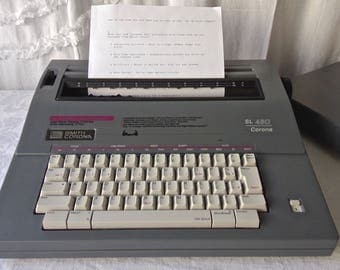 Vintage  Smith Corona Electric Typewriter SL 480 Good Working Typewriter Case and Cover