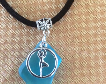 Aqua Blue Seaglass Yoga Tree Pose Charm Necklace