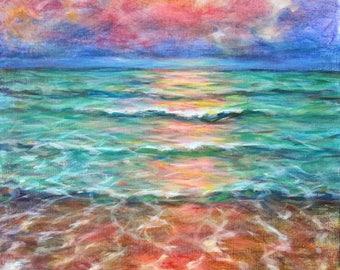 "Pink Waves, original painting, 20"" x 16"""