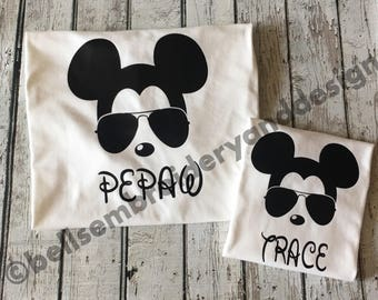 Mickey Mouse with Sunglasses shirt. Birthday or Everyday shirt or for Disney Trips!