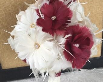Burgundy Wedding Bouquet,Brooch Bouquet,Feather Bouquet,Burgundy Wine Bouquet,Gatsby Bouquet,Alternative Bouquet,Vintage Bouquet