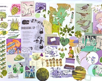 Purple and Green Collage papers, 60 pieces, Eco-friendly Paper Ephemera pack, Collage pack, scrap pack, paper scraps, craft supplies