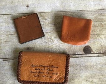 Vintage Collection of Leather Wallets Coin Purses - Stamps