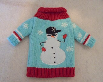 Snowman Ugly Sweater Wine Bottle Cover - Great Christmas Present