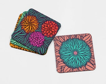 Floral Drinks Coasters, Table Mats, Gift for Gardener, Housewarming Gift, Gift for Her, Floral Drinks Mats, Home Decor, Modern Home