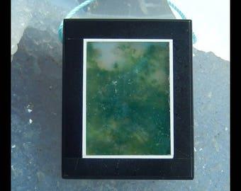 New,Moss Agate ,Obsidian Intarsia Pendant Bead,33x27x7mm,16.0g(f0421)
