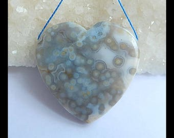 Natural Ocean Jasper Gemstone Heart Pendant Bead,35x8mm,14.8g(h0389)