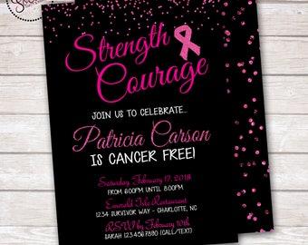 Breast Cancer Pink Ribbon Glitter Invitation DIGITAL OR PRINTED
