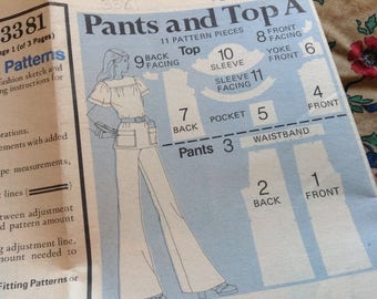 Vintage Butterick Pattern 3381, 70's Pattern, Size 10 Pattern, Fast and Easy Sew, Pants Pattern, Top Pattern, Uncut Pattern