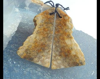 New,Nugget Indonesian Fossil Coral Gemstone Earring Bead,40x22x3mm,7.7g
