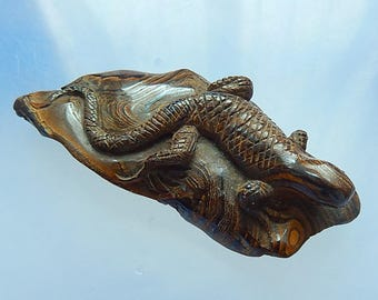 NEW,Special today!Carved Natural Boulder Opal  lizard carving gemstone ,80x34x19mm,45.1g