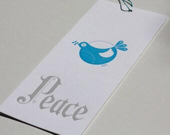 Letter Press Dove/Peace Card