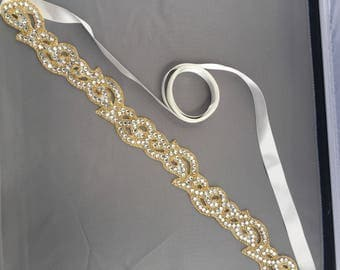 Gold wedding sash, bridal belt, wedding dress adornment