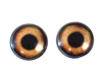 20mm Brown Dog Glass Eyes Pair of Cabochons - Round Animal Eyes for Doll or Jewelry Making - Set of 2