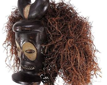 Chokwe Mask Mwana Pwo Horns Raffia Headdress Congo Africa 110182
