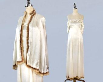 1930s Wedding Dress / 30s Fur Trim Gown and Cape Set