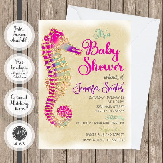 Girl Seahorse Baby Shower Invitation Under The Sea Baby Shower
