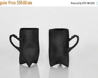 SALE Black Porcelain cups set of two , ceramic cups handbuilt coffee cups or tea cups by Endesign