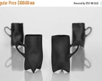 SALE Black Porcelain cups set of four , ceramic cups handbuilt coffee cups or tea cups by Endesign