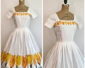 Reserved // 1950s Novelty Border Print Tulip Party Dress 50s