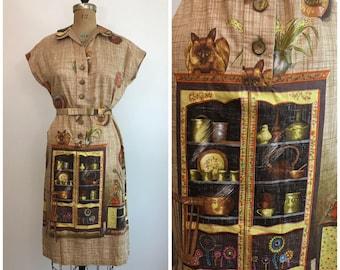 Vintage 1960s Siamese Cat Novelty Print Dress 60s Kitchen Border Print Shift Dress