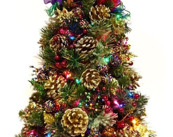 "CHRISTMAS IN JULY Bright Jewel Tone Tabletop Christmas Holiday Tree with Colored Lights  ( 24"" )"
