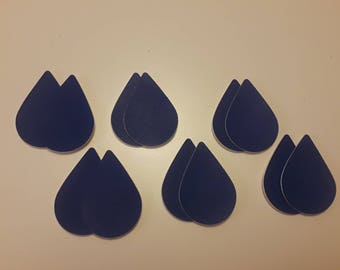 Dusty Blue Smooth Sponge Faux Leather Teardrop Cutouts