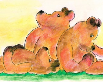 Three Bears-Original Watercolor-Whimsical Fantasy Art by SQ Streater-Free Shipping