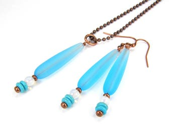 Blue Sea glass, Turquoise & Opalite Pendant Necklace and Earring Set, Blue Seaglass and White Pendant and Earring Set