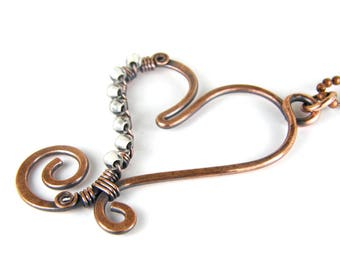 White Heart Pendant Necklace, Copper Heart Necklace, Wire Wrap Heart Necklace, White Heart Item 021