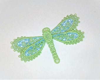 Dragonfly 3 D Dimensional, colorful for kids clothing FSL, Free standing lace embroidery design in the hoop ITH embroidery 4x4 and 5x7