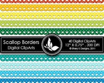 40% off Scallop Borders Clip Art - 40 Digital clip art - 12x0.75 - 300 DPI