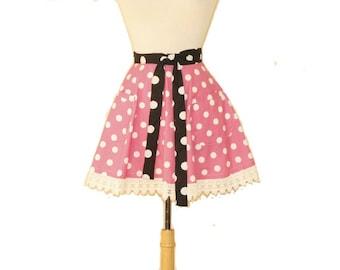 Hot Pink  Polka Dot Half Apron