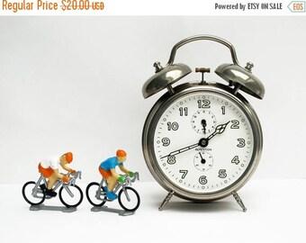 French vintage alarm clock JAZ, silver chromium color