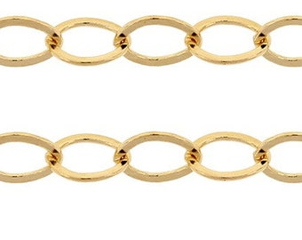 14Kt Gold Filled 2.8x2.2mm Flat Cable Chain - 18.5ft (6671-Cut) Clearance