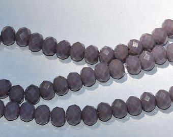20 pcs 8x6mm Opaque Plum Rondelle Glass Beads OPl