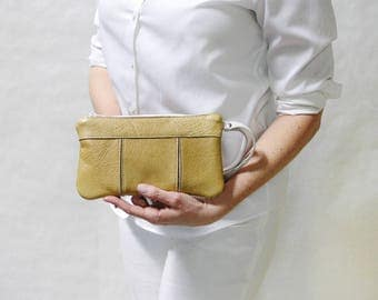 Expanding Upcycled Leather Wristlet // Yellow Gold Leather Clutch // Large Leather Wristlet // Zip top Leather Clutch //Upcycled Leather Bag