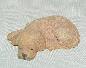 Puppy Dog Figurine-Sleeping Pet-Cute Curio-Carved Resin