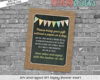display shower insert   unwrapped gift enclosure card   he or she gender reveal   rustic shower gender neutral   1410 1431 Katiedid Designs