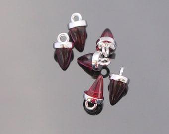 Jewelry Supplies, Pointed Bail Setting Dark Red Charm with loop, teardrop glass gemstone charm, 2 pc,KA915055