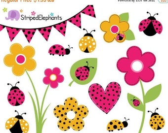 40% OFF SALE Lady Bug Clip Art - Lady Beetle Clipart - Pink and Yellow - Digital Clipart - Bug Clipart - Instant Download - Commercial Use