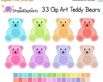 40% OFF SALE Pastel Teddy Bear Clipart - Digital Clip Art - Instant Download - Commercial Use