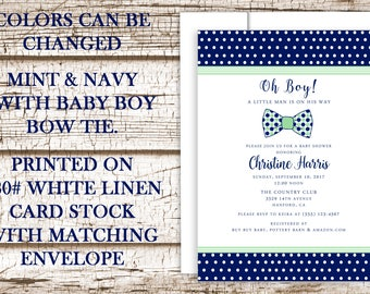 Baby Boy Shower Invitation, Bow Tie, Navy Blue and Mint Green, Little Man Baby Shower, Linen Cardstock, Bow Tie